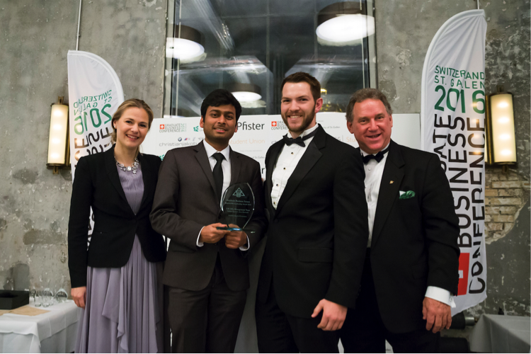 From left to right. Wieteke Dupain, GBF CEO, Vaibhav Agarwal and Jason Burchard, GBF Student Leadership Award Winners 2016, London School of Economics and Political Science; Jim Deveau, GBF Founder