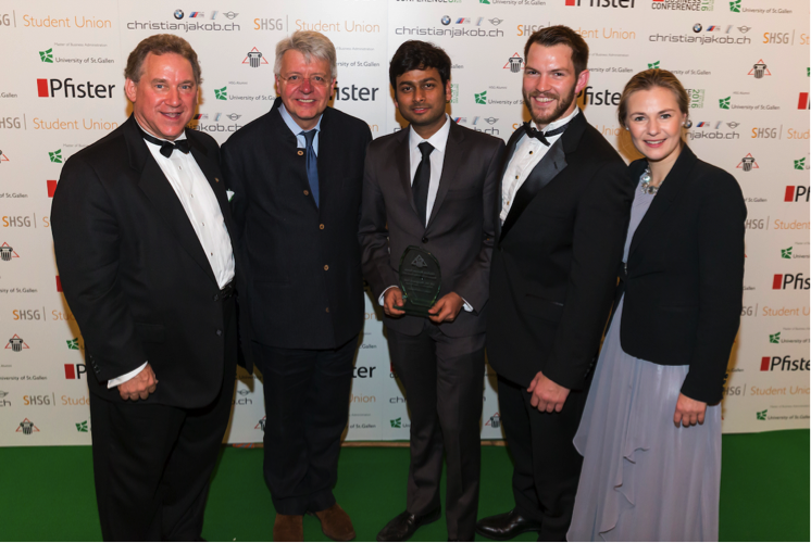 Jim Deveau, GBF Founder; Stephan Chambers, Director of International Strategy at Oxford and Chair of the Skoll Centre for Social Entrepreneurship; Vaibhav Agarwal and Jason Burchard, GBF Student Leadership Award Winners 2016, London School of Economics and Political Science; Wieteke Dupain, GBF CEO at the GBF 2016 Leadership Awards Commemorative Banquet and Gala