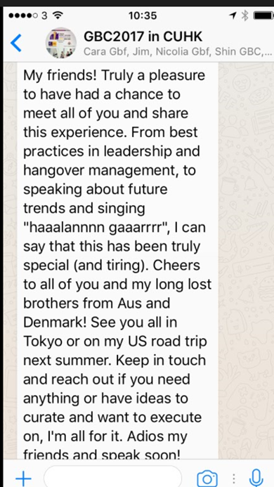 Whatsapp text from delegate